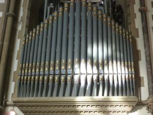 Christmas sunshine on Organ pipes